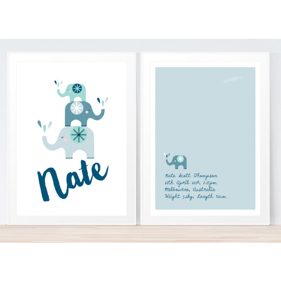 Elephants 2 Pack Blue & Green Framed