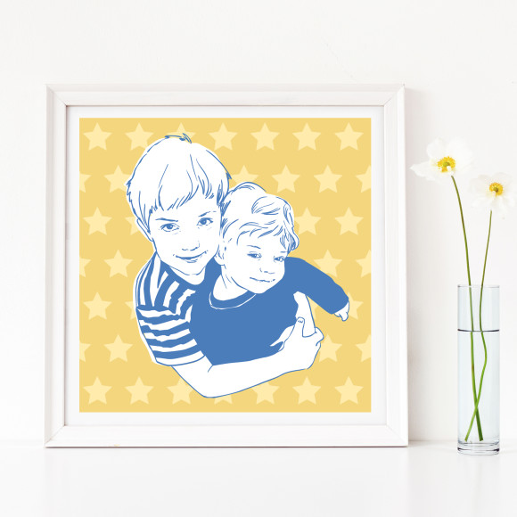 Children's portrait, star background