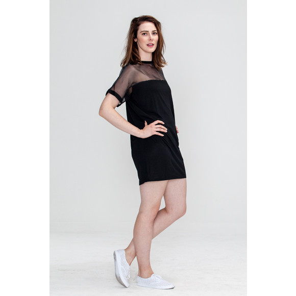 Black Sassy Mesh T-shirt Dress