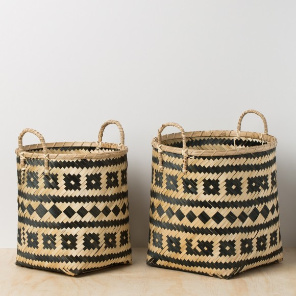 Bamboo Storage Basket with Handle - Set of 2