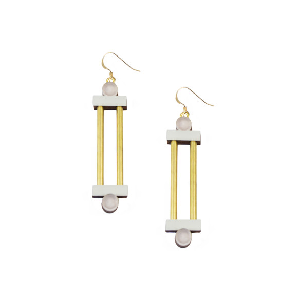 Column Earrings - Mauve / Brass