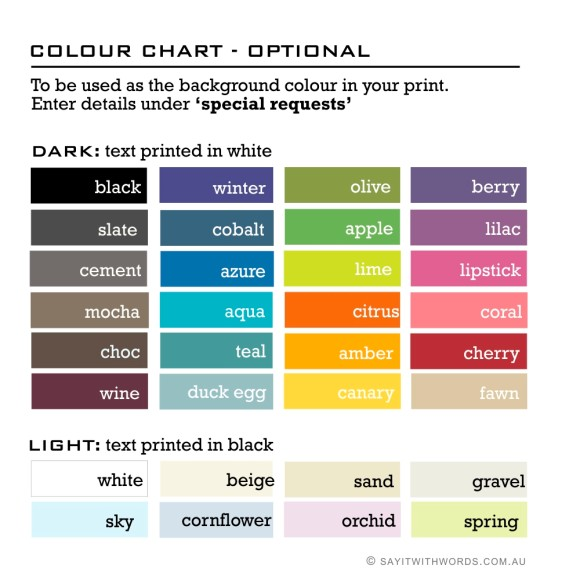 Custom colour chart