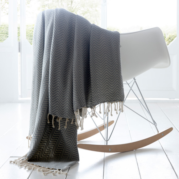 Charcoal Chevron Throw