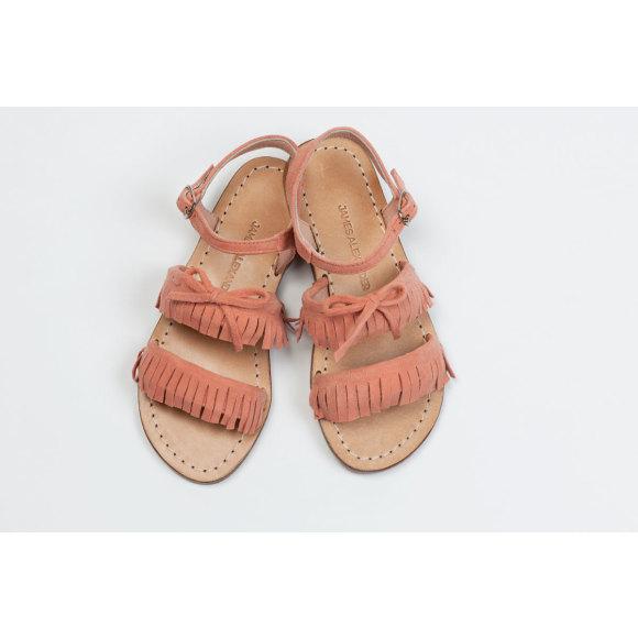 Girls Baja Fringe sandal in Coral Pink