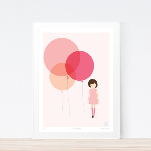 Three Balloons Art Print Framed