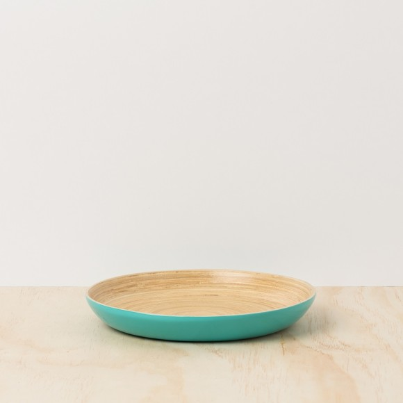 Turquoise Lacquer Bamboo Tray - Medium