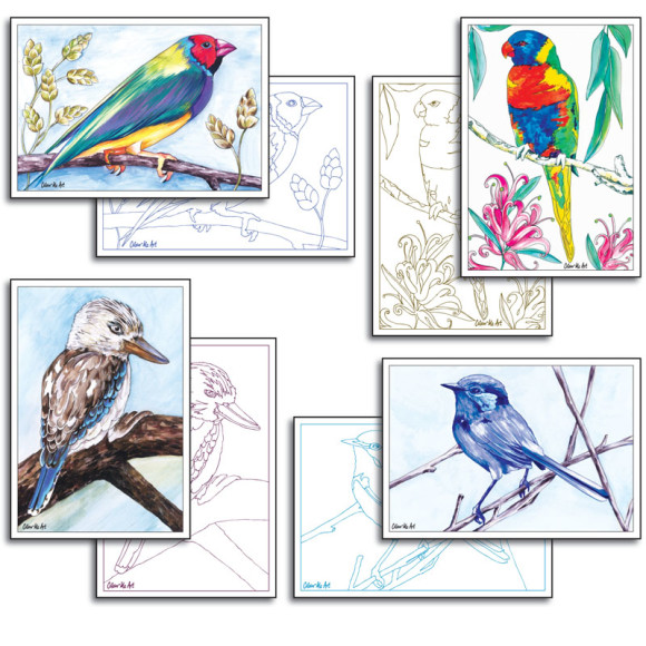 Australian Bird Cards to Colour