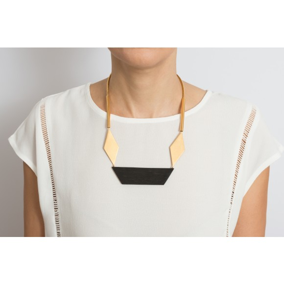 Origame ebony wood and gold statement necklace