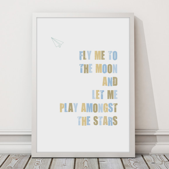 Fly Me To the moon print with optional Australian-made white timber frame