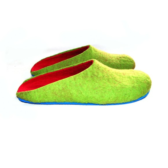 Royal Blue Sole Felted Wool Shoes Green Bright Pink. Women