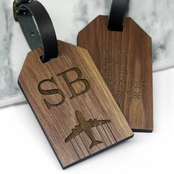 initial luggage tag walnut wood