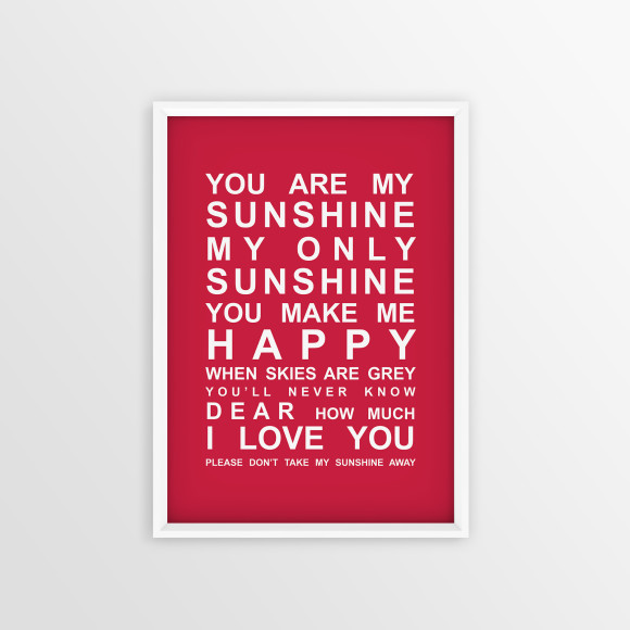 You are My Sunshine Bus Roll Print with optional white timber frame, in Red