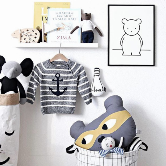 Buddy Bear Monochrome Nursery Art Print