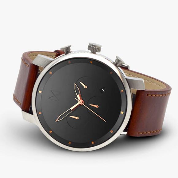 mvmt chrono silver/black & natural leather