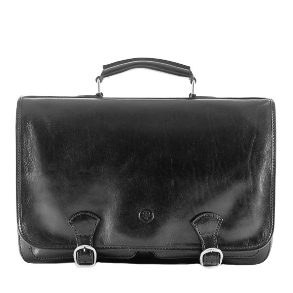 Mens leather briefcase in black