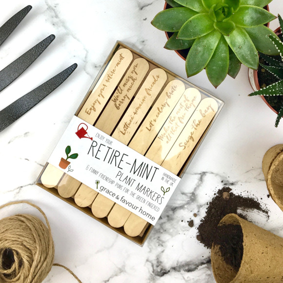 Personalised Retirement Pun Plant Markers