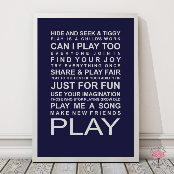 Expressions of your childhood playroom rules print in Navy, with optional Australian-made white timber frame