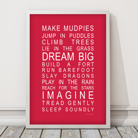 Dreams for Your Boy Print in Red, with optional Australian made white timber frame