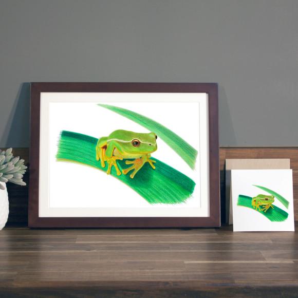 Frog print A4 mocha frame