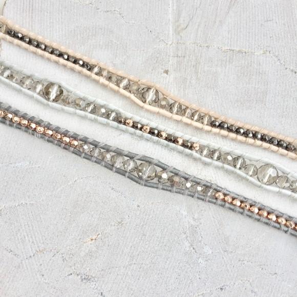 Vanilla, Dive Grey and Metallic Grey Leather Multi Wrap Bracelets