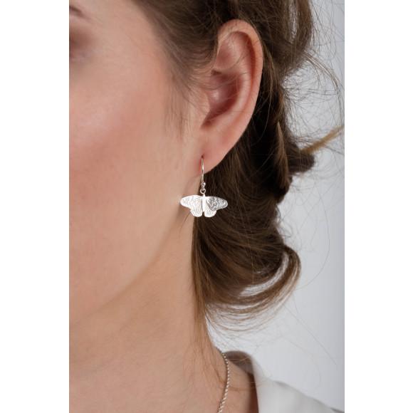 Amanda Coleman butterfly drop earrings model shot