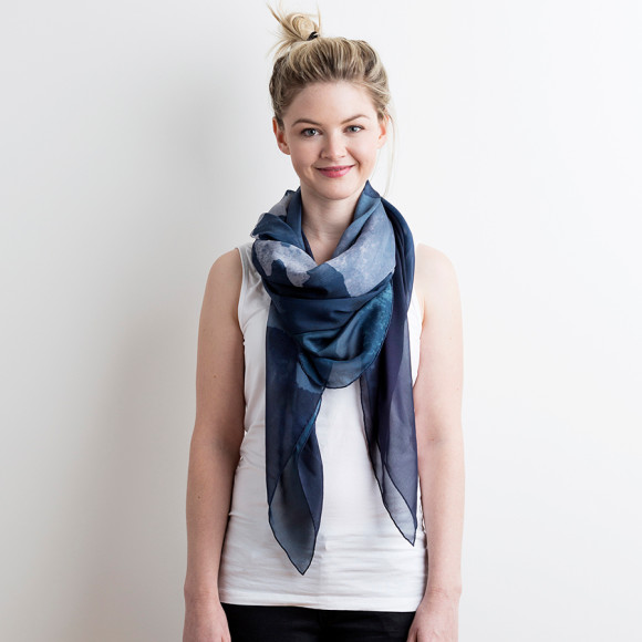 Midnight Ink Silk Scarf
