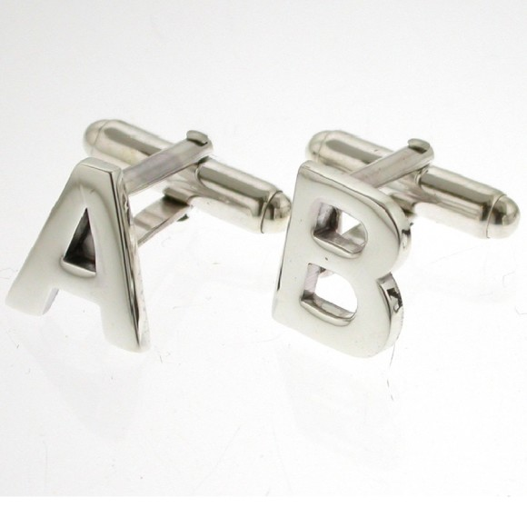 Sterling silver alphabet cufflinks