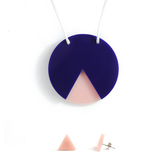GEO necklace & earrings gift set - circle navy and blush pink