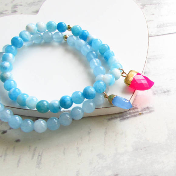 Azure aqua jade and sanibel bracelet