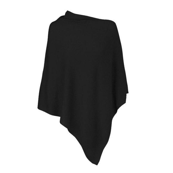 Black 100% Cashmere Poncho