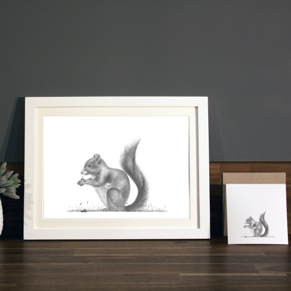 Squirrel print A4 white frame
