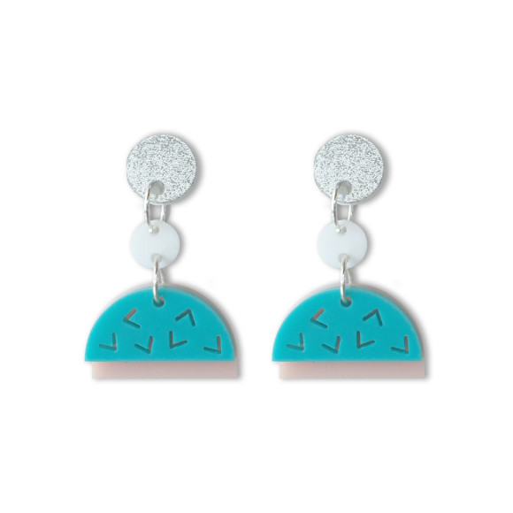 Confetti drop earrings in aqua, blush, glitter