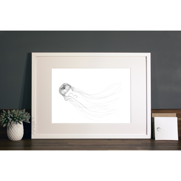 Jellyfish print A3 white frame