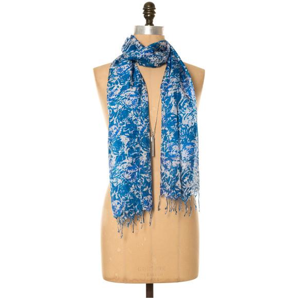 Porcelain floral silk scarf