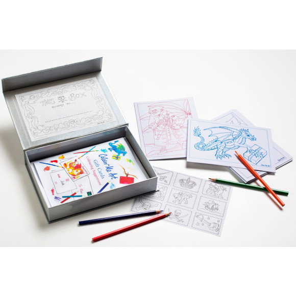 8 cards, envelopes, pretend stamps all in a great reusable box