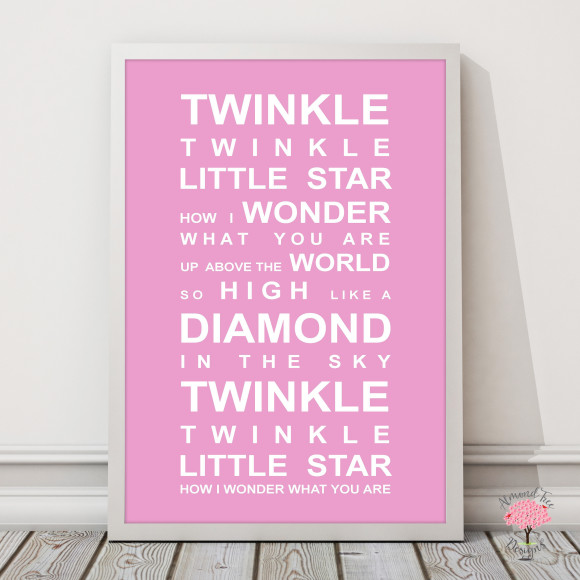 Twinkle Twinkle Print in Pink, with optional Australian-made white timber frame