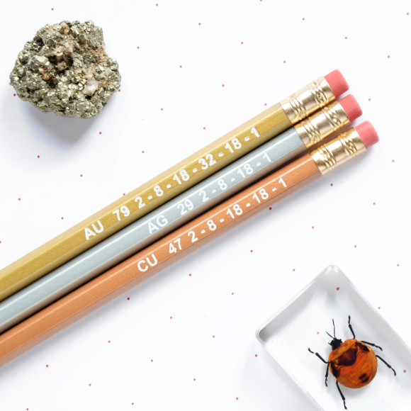 Metallic Elements Shiny Pencil Set