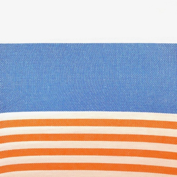 White and blue with orange stripes
