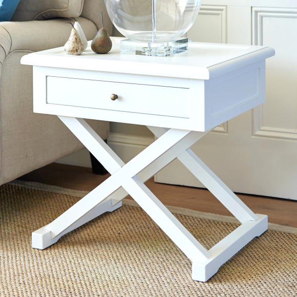 Cross Leg Side Table In White Hardtofind