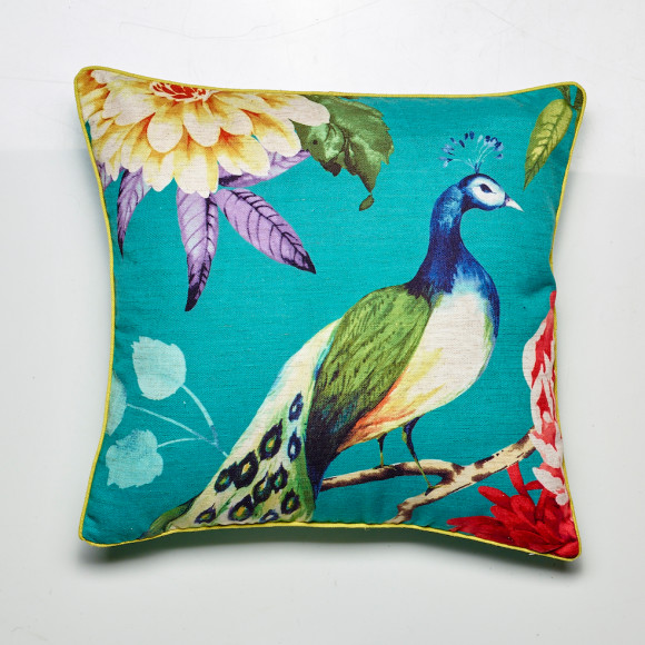Peacock cushion in teal, comes with a gold piping edge