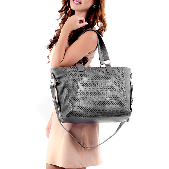 Gray Leather Bag