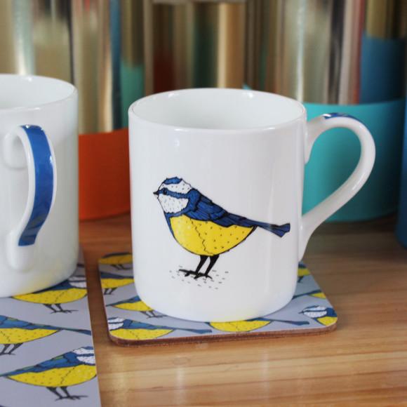 Bold Blue Tit Mug Handle