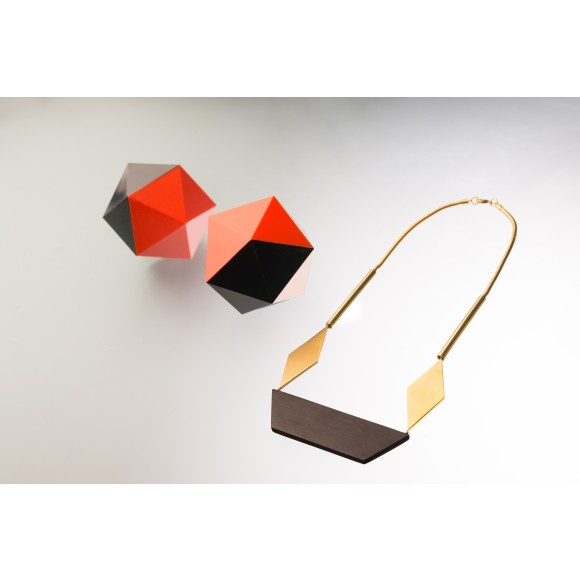 Origami ebony wood and gold statement necklace