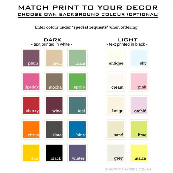 Choose own colour