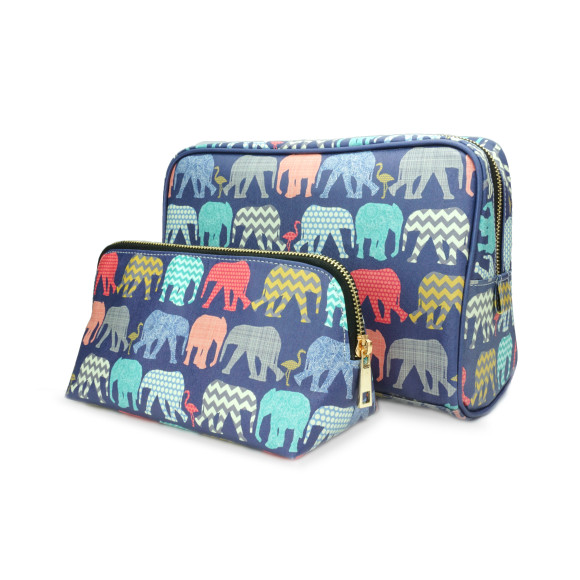 Travel Gift Set Elephants & Flamingos Make Up & Toiletry Wash Bag