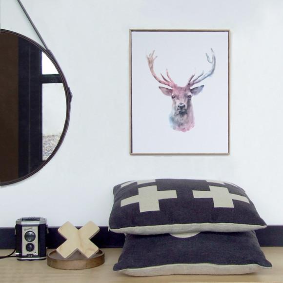Reindeer Watercolour Framed