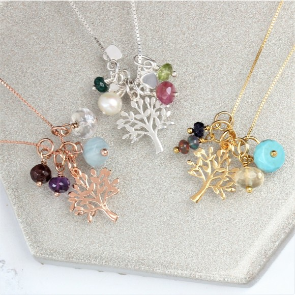 mini sterling silver, rose gold and gold tree of life charm necklace with birthstones