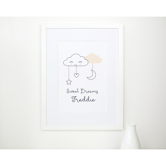 Peach Sweet dreams cloud nursery print