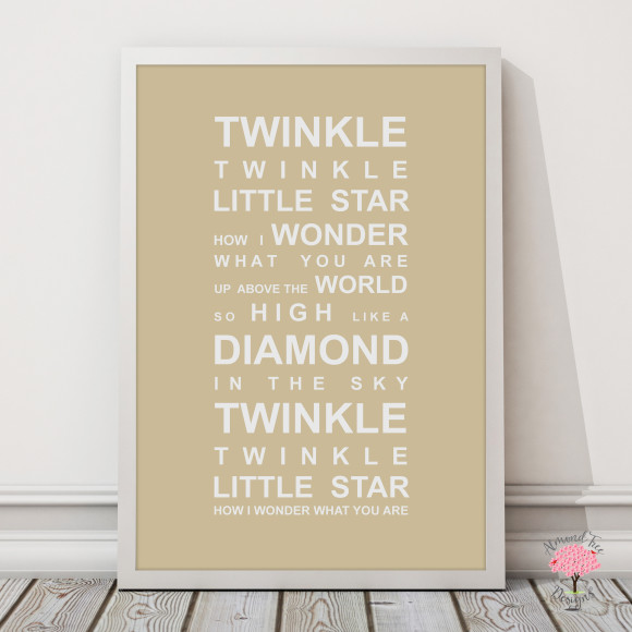 Twinkle Twinkle Print in Latte, with optional Australian-made white timber frame