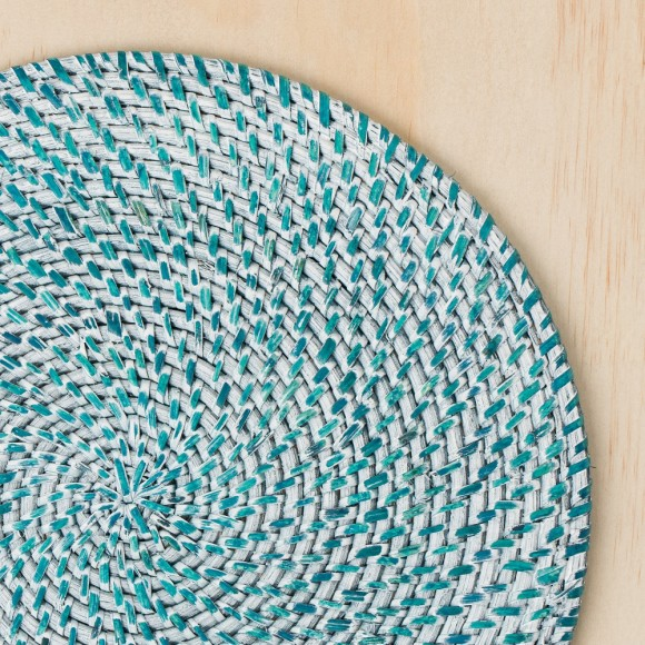 Rattan Blue & white-washed Placemats - SET OF 6